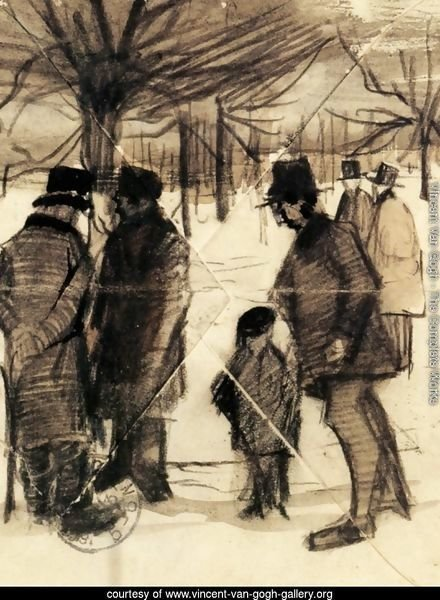 Five Men and a Child in the Snow
