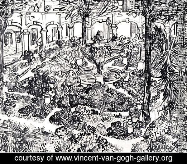 Vincent Van Gogh - The Courtyard of the Hospital at Arles 3
