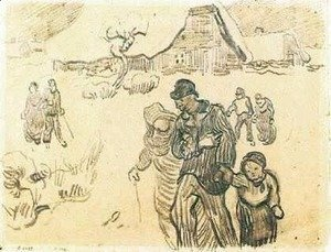 Vincent Van Gogh - Snow-Covered Cottages, a Couple with a Child, and Other Walkers