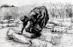 Vincent Van Gogh - Peasant Woman, Stooping between Sheaves of Grain