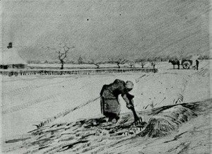 Vincent Van Gogh - Snowy Landscape with Stooping Woman