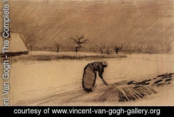 Vincent Van Gogh - Woman with a Fork in a Winter Landscape