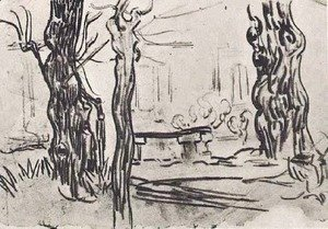 Vincent Van Gogh - Garden of the Asylum and Tree Trunks and a Stone Bench