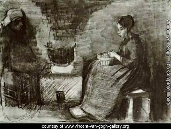 Woman, Sitting by the Fire, Peeling Potatoes, Sketch of a Second Figure