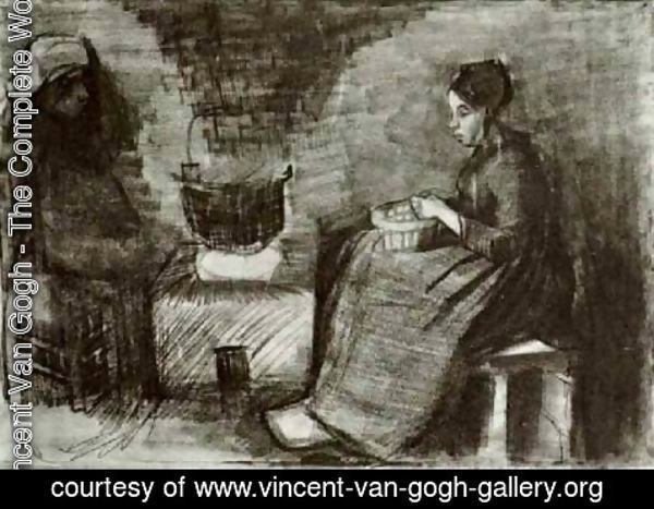 Vincent Van Gogh - Woman, Sitting by the Fire, Peeling Potatoes, Sketch of a Second Figure