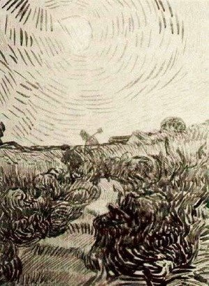 Vincent Van Gogh - Sun Disk above a Path between Shrubs