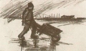 Peasant, Walking with a Wheelbarrow