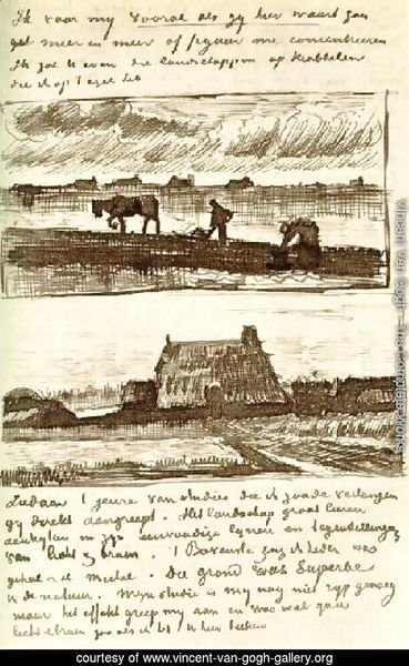 Plowman with Stooping Woman, and a Little Farmhouse with Piles of Peat