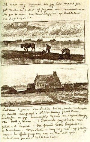 Vincent Van Gogh - Plowman with Stooping Woman, and a Little Farmhouse with Piles of Peat