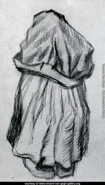 Peasant Woman with Shawl over her Head, Seen from the Back