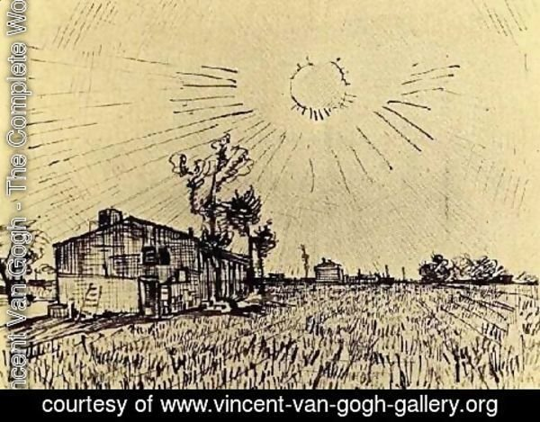 Vincent Van Gogh - Field with Houses under a Sky with Sun Disk