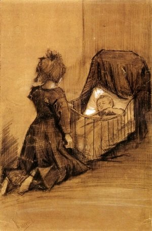 Vincent Van Gogh - Girl Kneeling by a Cradle