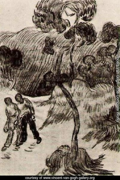 Two Men Walking in a Landscape with Trees