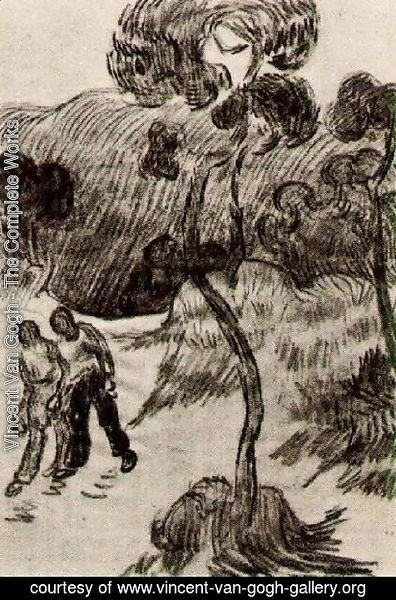 Vincent Van Gogh - Two Men Walking in a Landscape with Trees