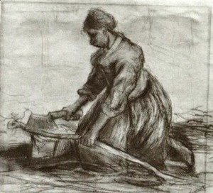 Vincent Van Gogh - Peasant Woman, Kneeling with Chopper