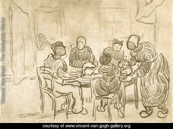 Sketch of the Painting The Potato Eaters