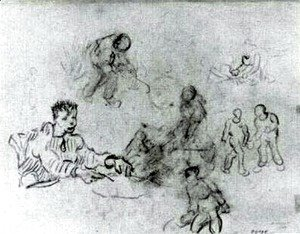 Vincent Van Gogh - Sheet with Sketches of Peasants