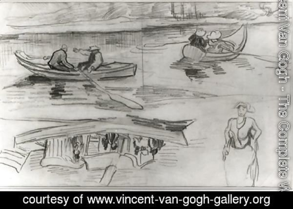 Vincent Van Gogh - A Steamer with Several People