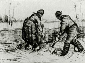 Vincent Van Gogh - Peasant Man and Woman Planting Potatoes 2