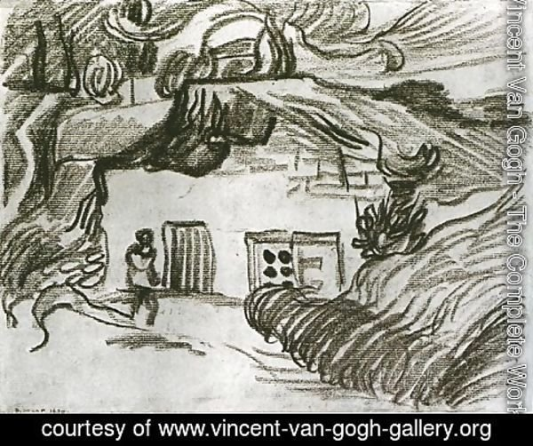 Vincent Van Gogh - Houses among Trees with a Figure