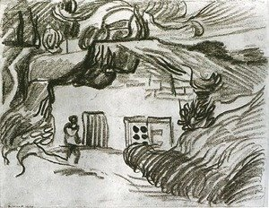 Houses among Trees with a Figure
