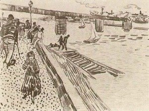 Vincent Van Gogh - View of a River, Quay, and Bridge
