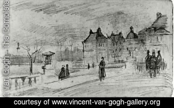 Vincent Van Gogh - People Walking in Front of the Palais du Luxembourg