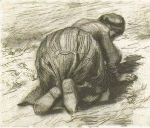 Vincent Van Gogh - Peasant Woman, Kneeling, Seen from the Back