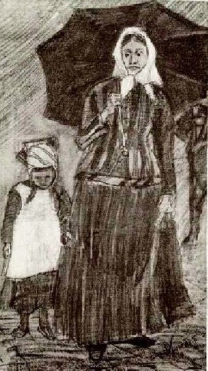 Vincent Van Gogh - Sien under Umbrella with Girl