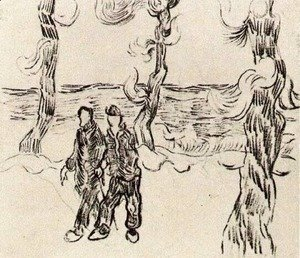 Two Men on a Road with Pine Trees