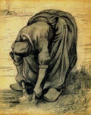 Vincent Van Gogh - Peasant Woman, Stooping with a Spade, Digging Up Carrots