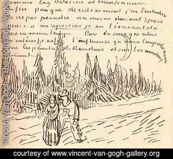 Vincent Van Gogh - A Lane of Cypresses with a Couple Walking