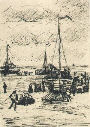 Vincent Van Gogh - Beach and Boats