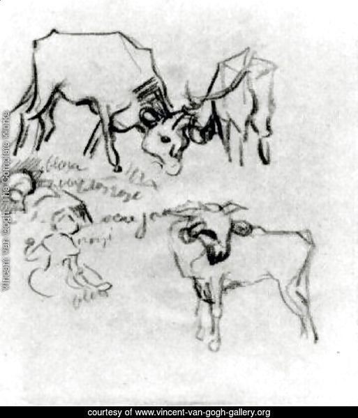 Sketch of Cows and Children