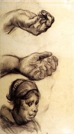 Vincent Van Gogh - Two Hands and a Woman s Head