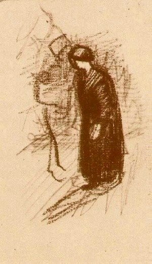 Woman in Dark Dress, Walking