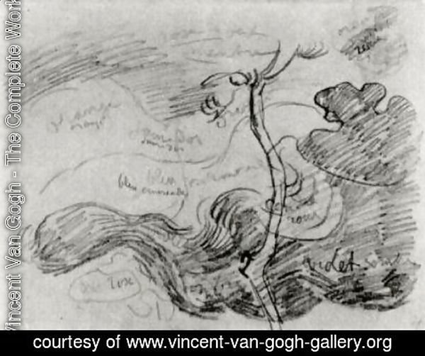 Vincent Van Gogh - Sketch of a Tree against Clouds with Colour Annotations