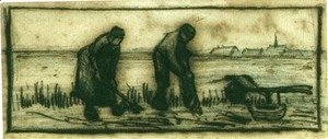 Vincent Van Gogh - Potato Harvest with Two Figures