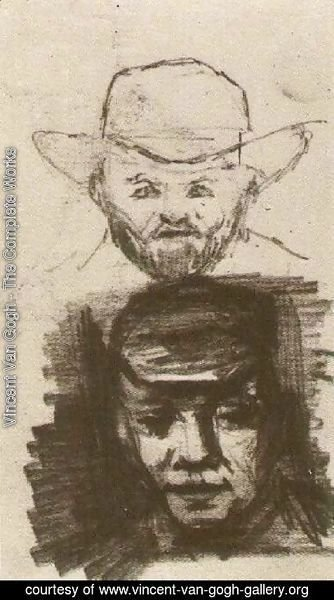 Vincent Van Gogh - Two Heads Man with Beard and Hat Peasant with Cap