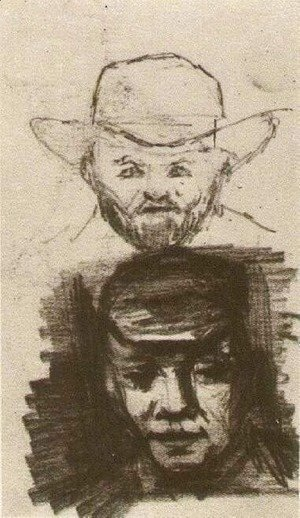 Two Heads Man with Beard and Hat Peasant with Cap