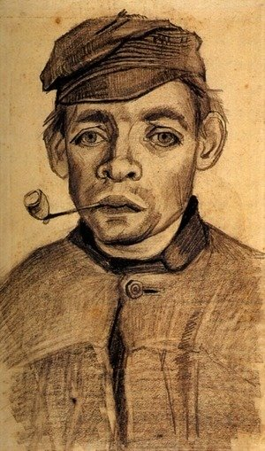 Vincent Van Gogh - Head of a Young Man with a Pipe