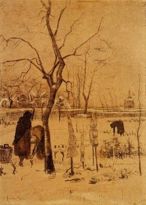 Parsonage Garden in the Snow with Three Figures