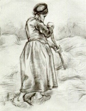 Peasant Woman, Tossing Hay, Seen from the Back