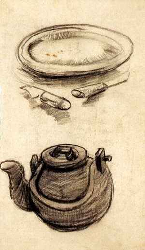 Plate with Cutlery and a Kettle