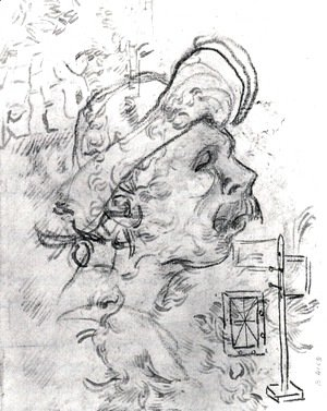 Head of a Man with a Hat, a Perspective Frame, and Other Sketches