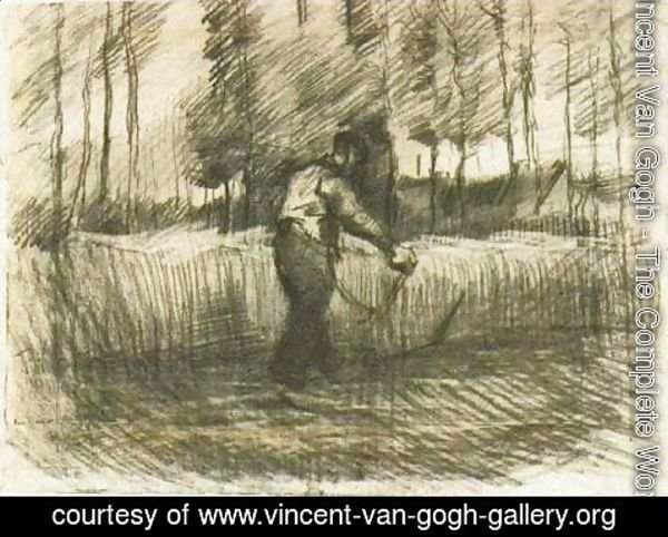 Vincent Van Gogh - Wheat Field with Trees and Mower