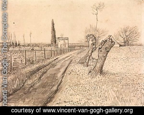 Vincent Van Gogh - Landscape with Path and Pollard Trees