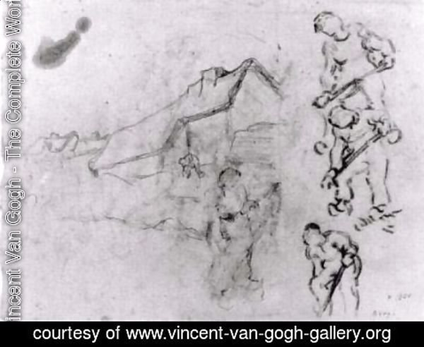 Vincent Van Gogh - Sketches of a Cottage and Figures