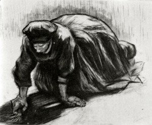 Peasant Woman, Kneeling, Possibly Digging Up Carrots