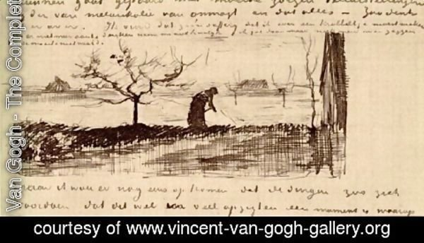 Vincent Van Gogh - Stooping Woman in Landscape